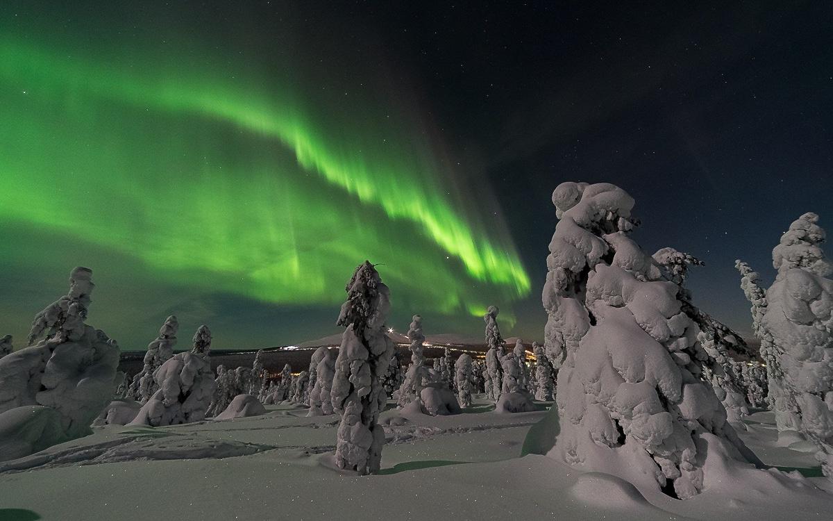 polární záře Finsko