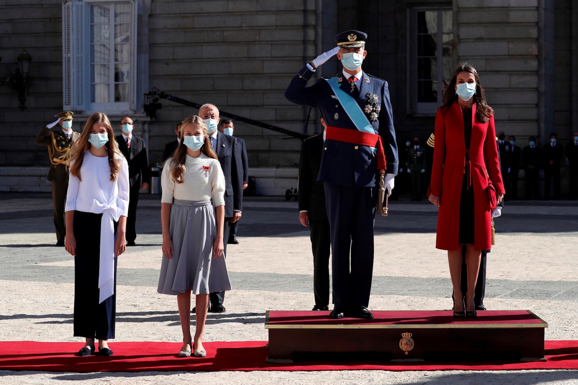 Spanish King Felipe, Queen Letizia, Princess Leonor and Infanta Sofia