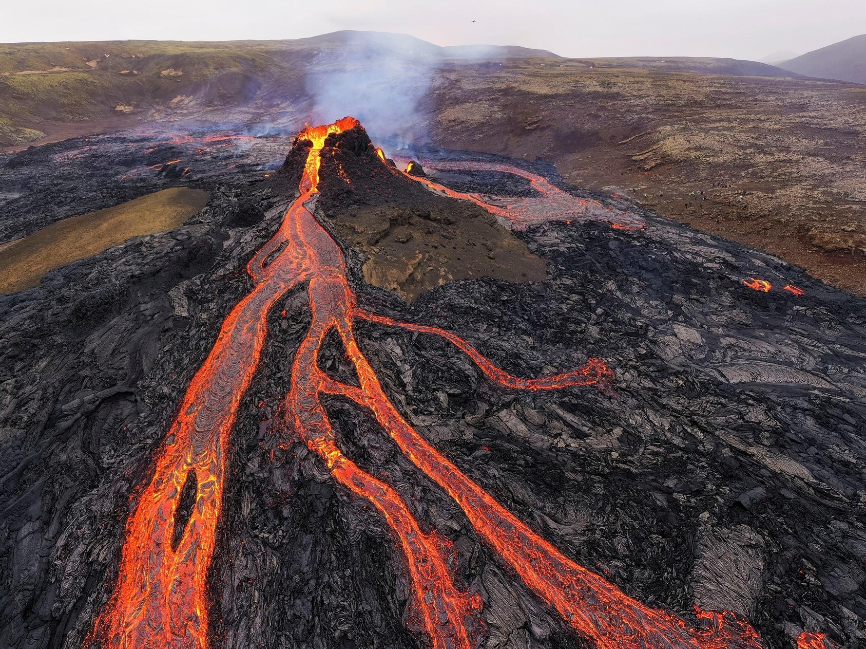 Aktivní vulkán na Islandu na poloostrově Reykjanes