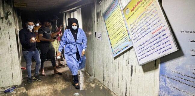 Nemocnice Ibn Khatib zničená požárem