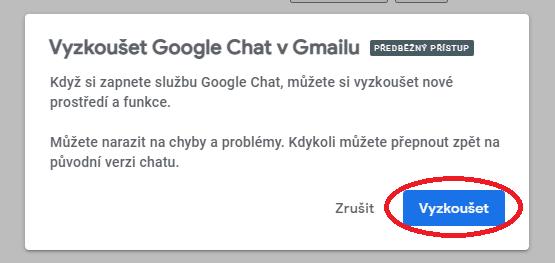 """Nastavení předběžného přístupu """"Chatu"""" v Gmailu"""