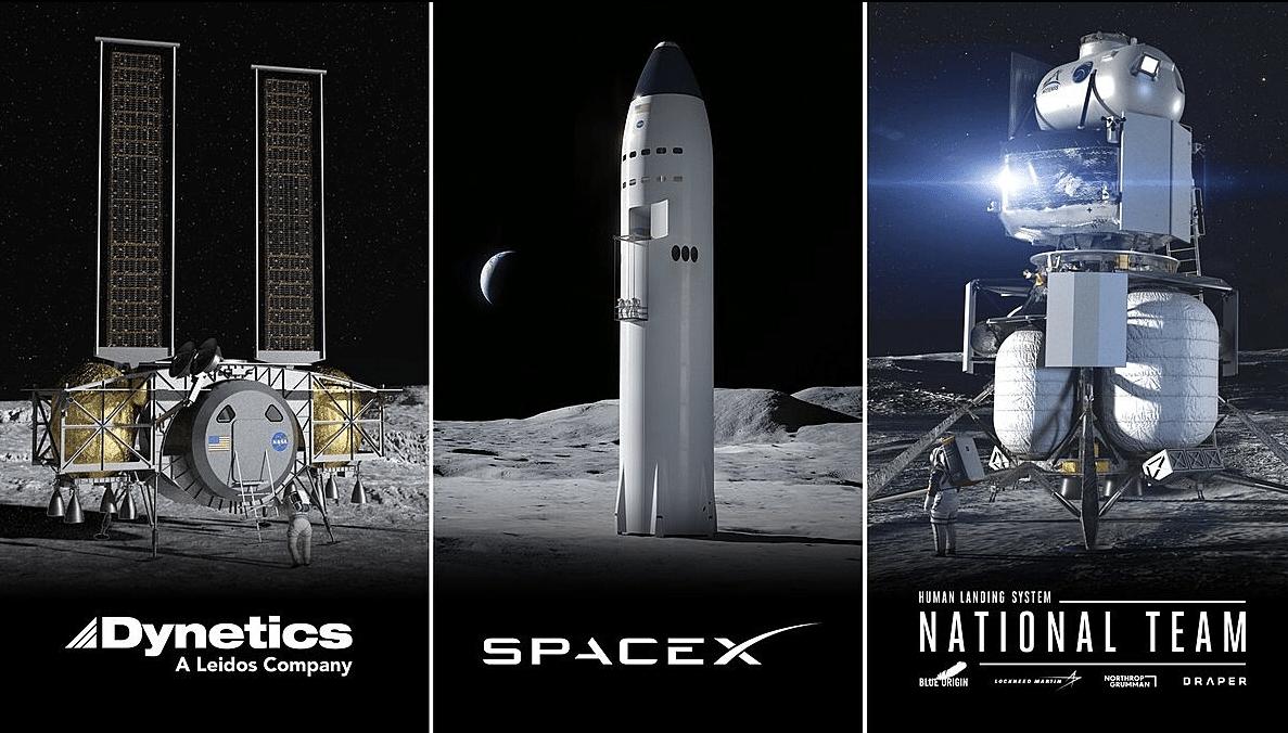 Finalisté výběrového řízení NASA na vývoj přistávacího systému pro lidskou posádku. Foto: NASA
