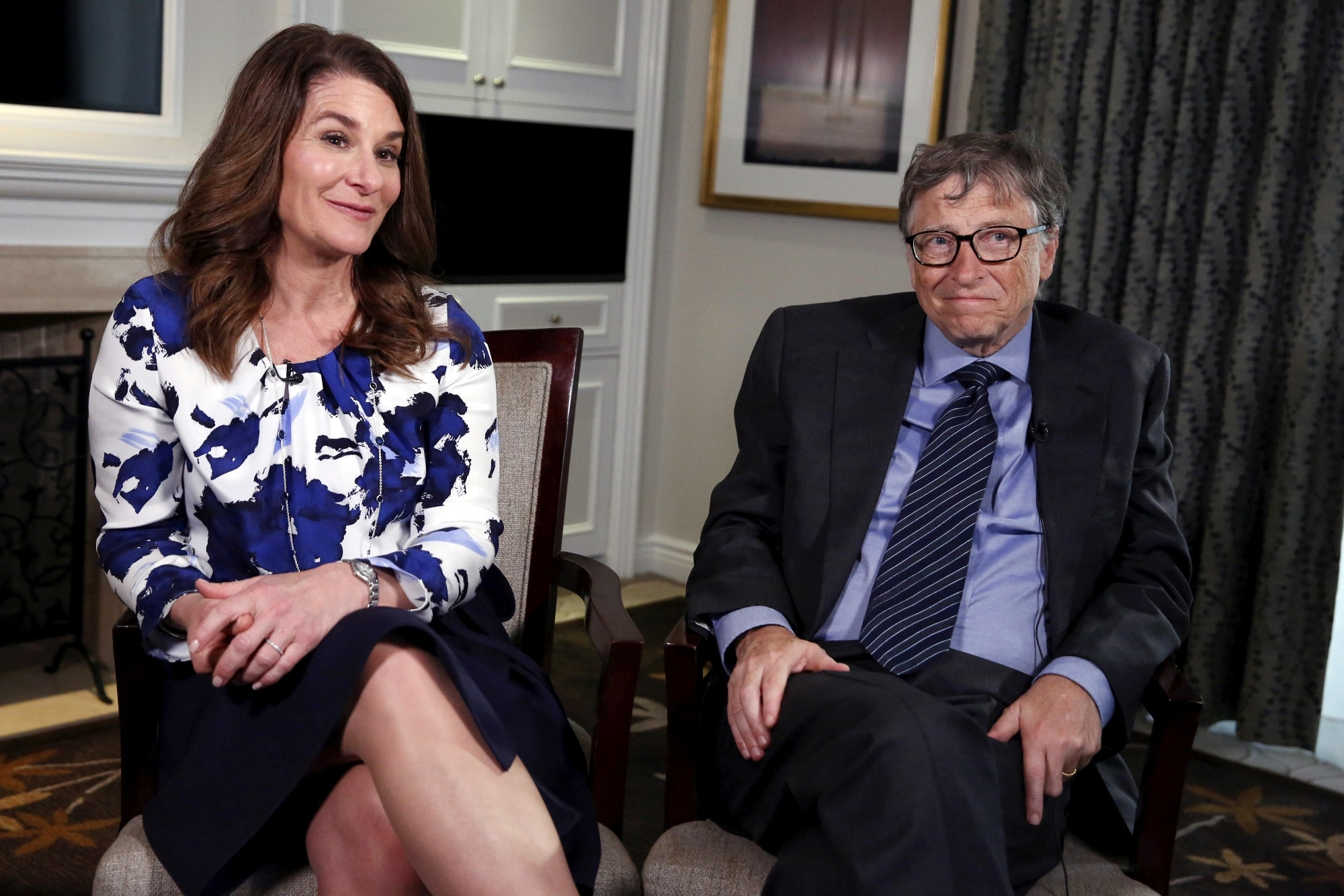 Spoluzakladatel Microsoftu Bill Gates s manželkou Melindou během interview v New Yorku, 2016