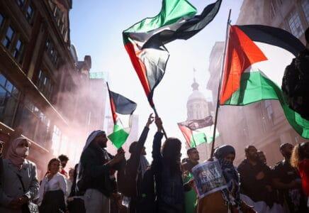 Protest na podporu Palestiny v Londýně