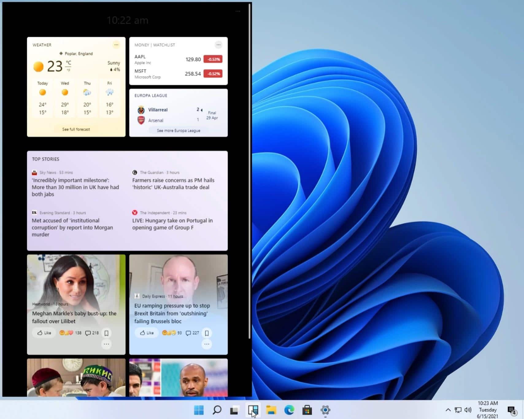 Nové widgety. Foto: Microsoft