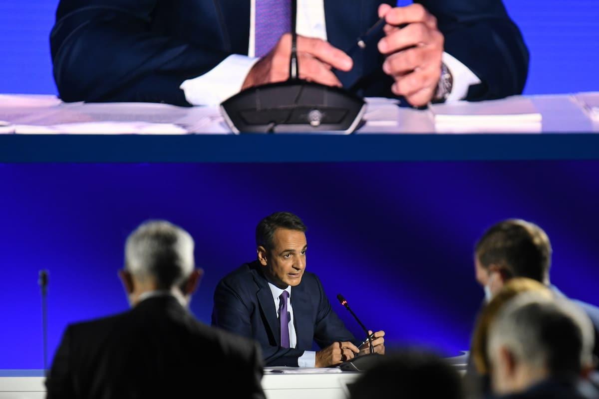Řecký premiér Kyriakos Mitsotakis hovořil během tiskové konference v Soluni